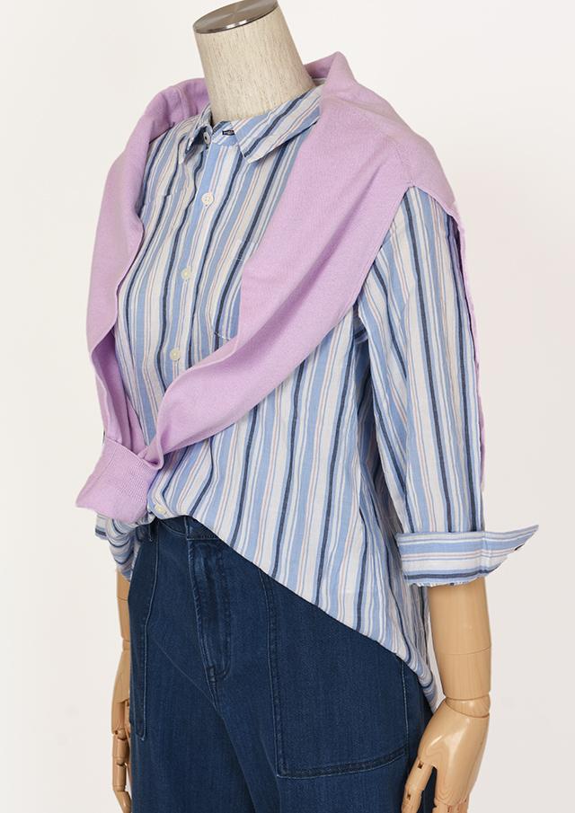 【2021春夏】シャーリングストライプシャツ八分袖【PE121001】【右前タイプ】【ポートランド】