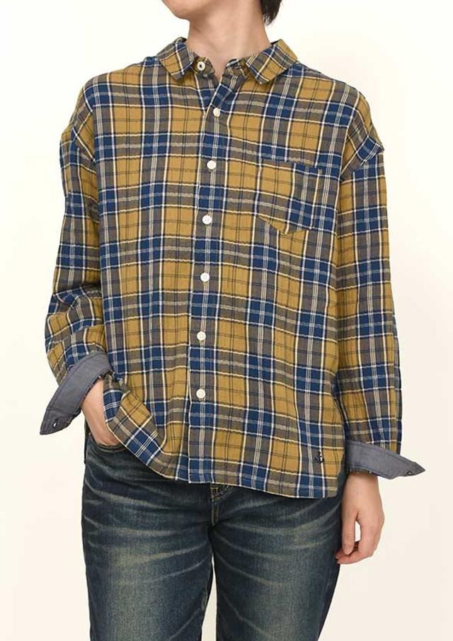 感謝祭10%OFF!!【2021秋冬】ヘリンボーンシャーリングチェックシャツ【PE121503】【右前タイプ】【ポートランド】