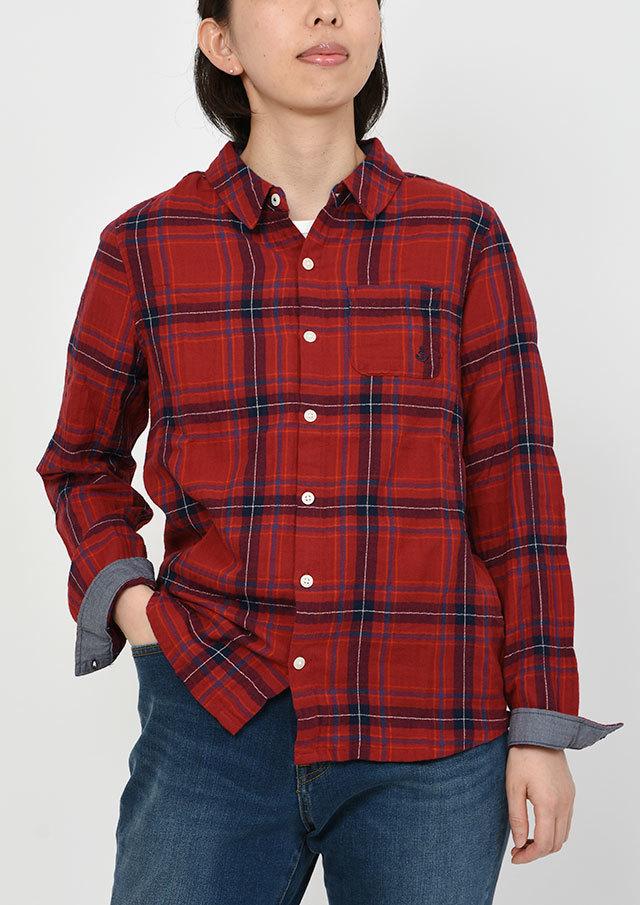 SALE!!【2019秋冬】シャーリングヘリンボーンチェックシャツ【PE129501】【右前タイプ】【ポートランド】