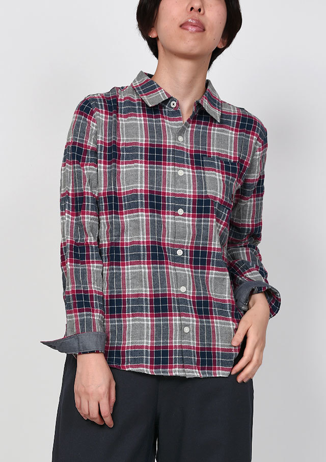 SALE!!【2019秋冬】シャーリングチェックシャツ【PE129502】【右前タイプ】【ポートランド】