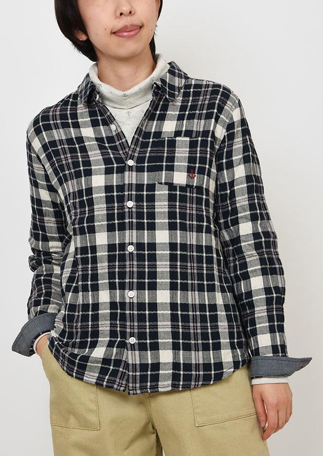 【2019秋冬】ヘリンボーンシャーリングチェックシャツ【PE129604】【ポートランド】