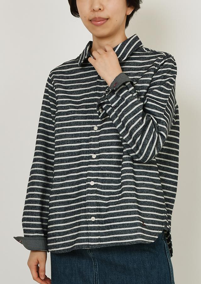 SALE!!【2019秋冬】起毛ボーダールーズシャツ【PE129608】【右前タイプ】【ポートランド】