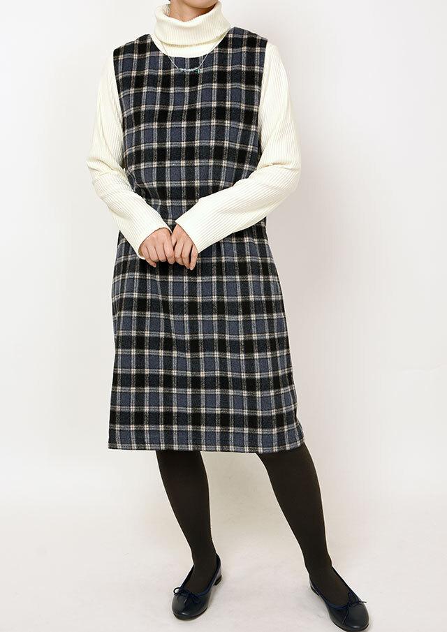 【2020秋冬】チェックジャンパースカート【PL020604B】【ブルーライフ】
