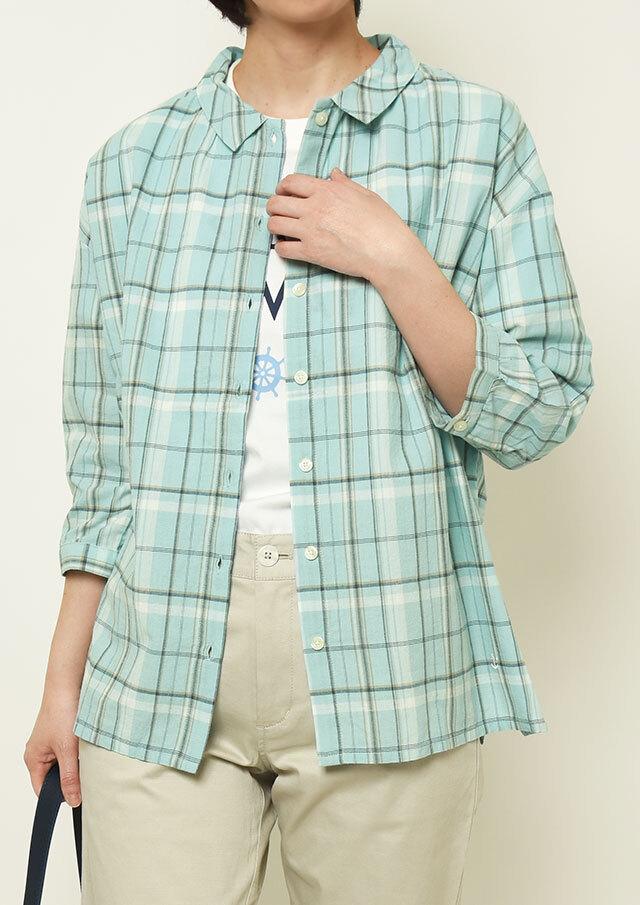 【2021春夏】マドラスチェック襟ぐりギャザーブラウス七分袖【PL051024】【ポートランド】