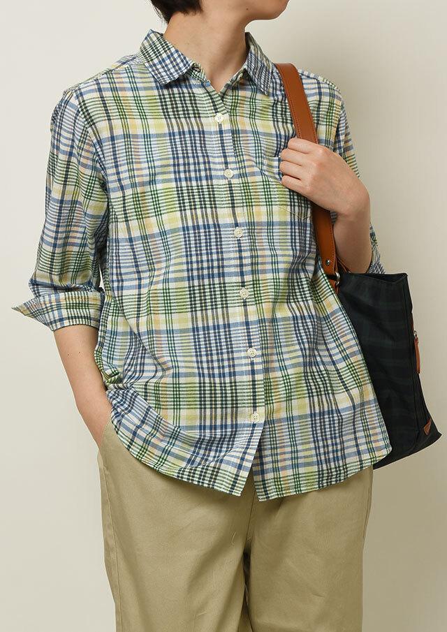 【2021春夏】マドラスチェックシャツ七分袖【PL051025】【ポートランド】