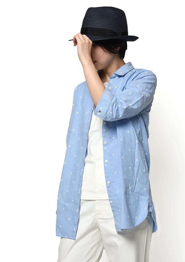 【2019春夏】オックスイカリプリントミニカラーチュニック七分袖【PL059201】【ポートランド】