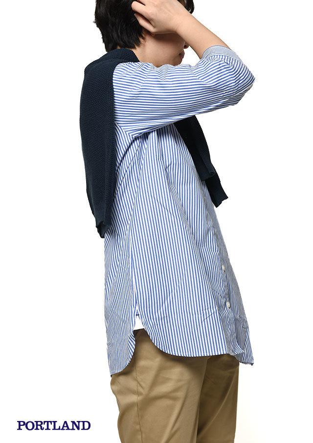 【2019春夏】ブロード柄物ミニラウンドカラーボタンダウンチュニック七分袖【PL059204】【ポートランド】