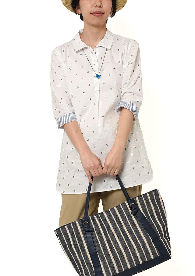 【2019春夏】ミニイカリプリントプルオーバーチュニック七分袖【PL059205】【ポートランド】