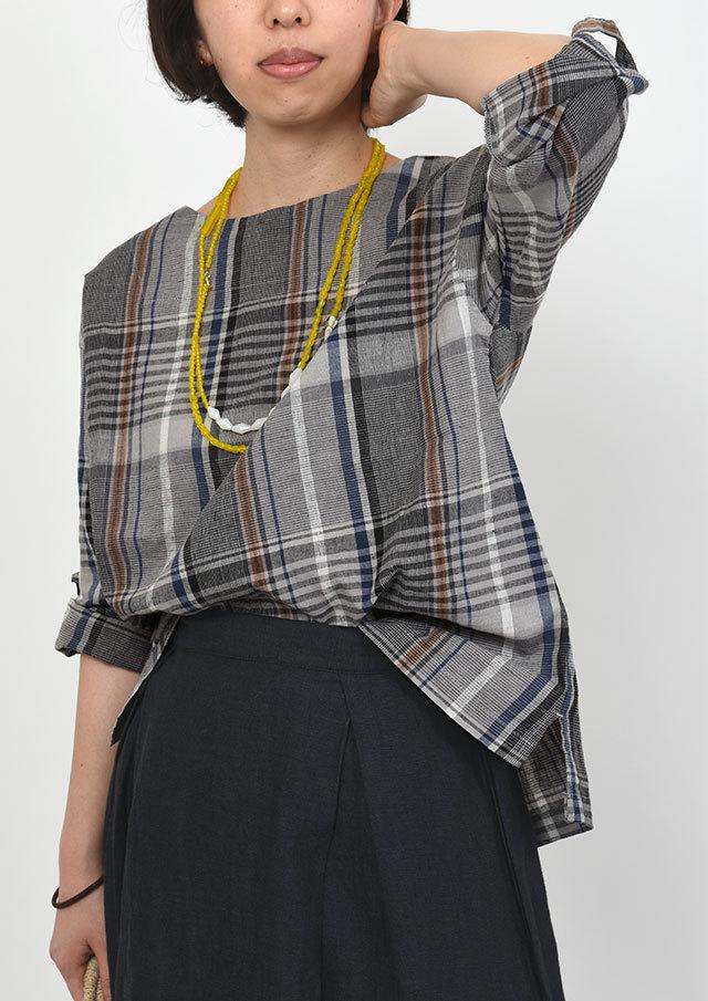SALE!!【2019秋冬】綿麻大柄チェック八分袖【PL059505B】【ブルーライフ】