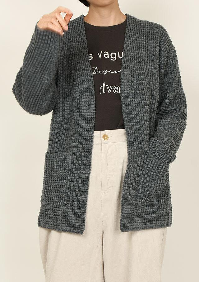 SALE!!【2020秋冬】ワッフルカーディガン【PL060610B】【ブルーライフ】