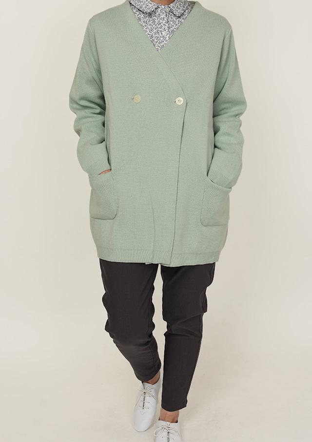 【2021春夏】コットンアクリルノーカラーニットジャケット【PL061001】【ポートランド】