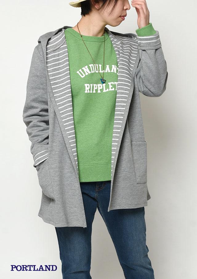 【2019春夏】ボンディングフードトッパーカーディガン【PL079018】【ポートランド】
