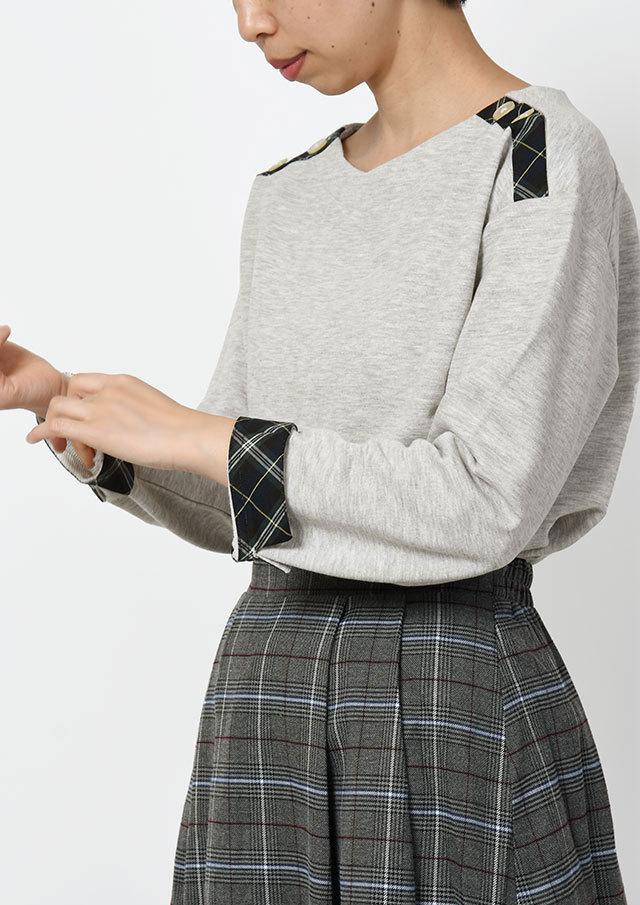 SALE!!【2019秋冬】ミニ裏毛肩ボタンチェック別布使いプルオーバー【PL079506B】【ブルーライフ】
