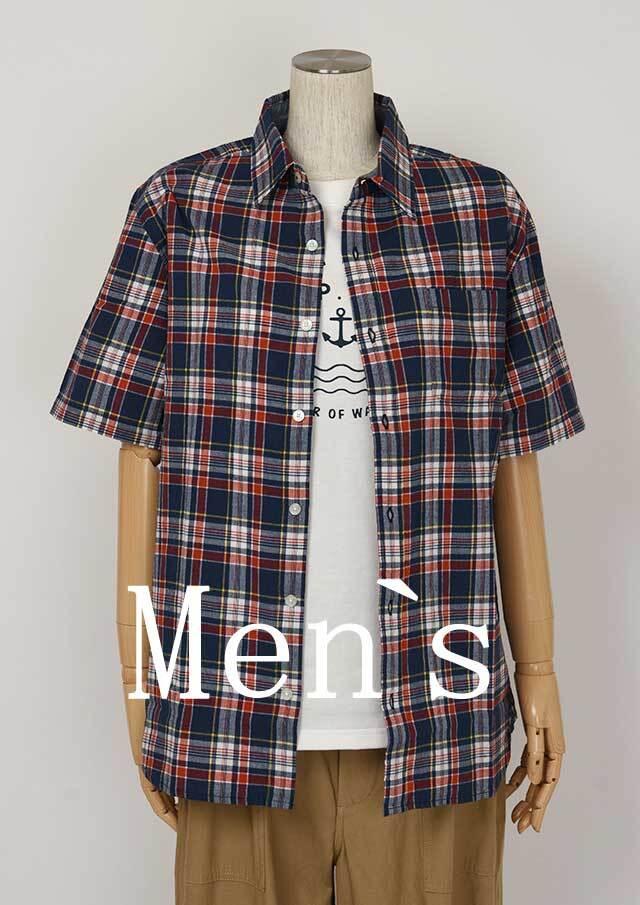 20%OFF!!【2020春夏】MENSマドラスチェックシャツ半袖【メンズ】【PL120101AA】【ポートランド】