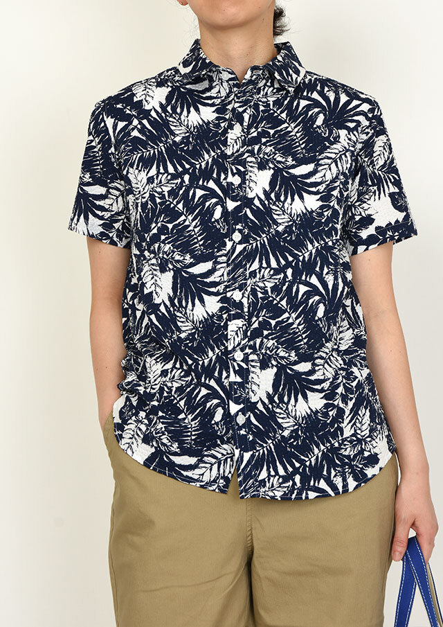 20%OFF!!【2020春夏】リップルプリントシャツ半袖【PL120102】【右前タイプ】【ポートランド】