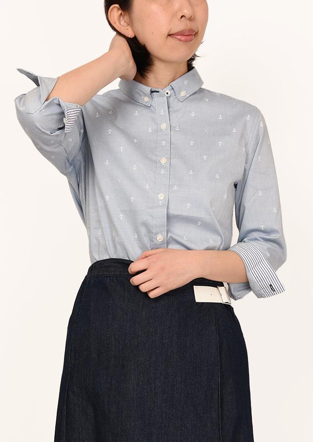 20%OFF!!【2020春夏】イカリ小プリントミニボタンダウンシャツ八分袖【PL120205】【ポートランド】