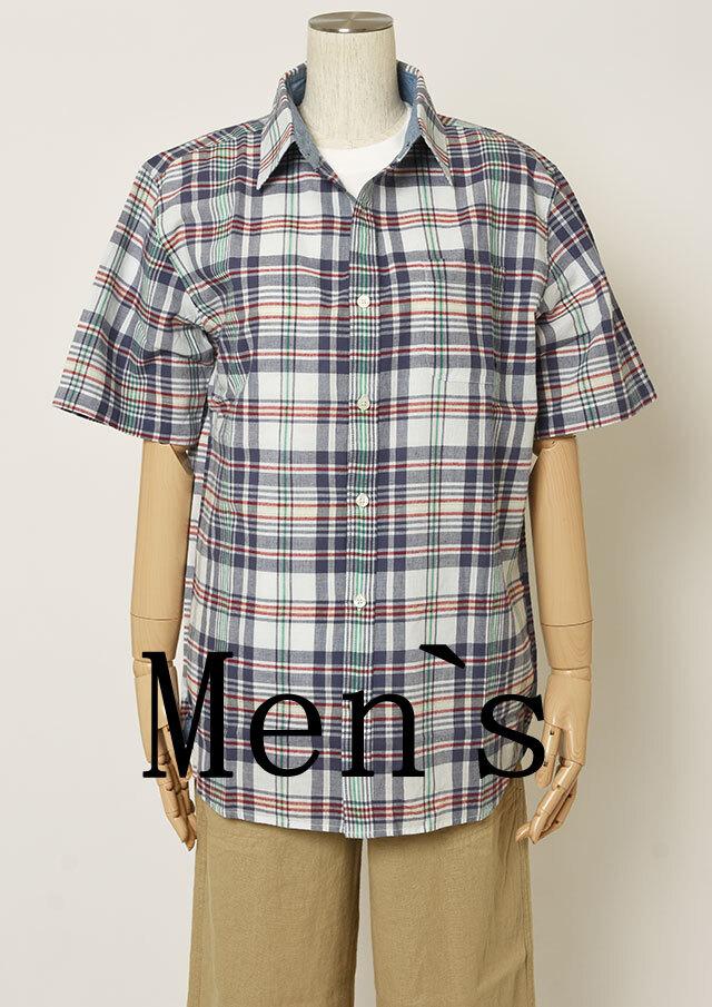 【2021春夏】MENSマドラスチェックシャツ半袖【メンズ】【PL121101AA】【ポートランド】