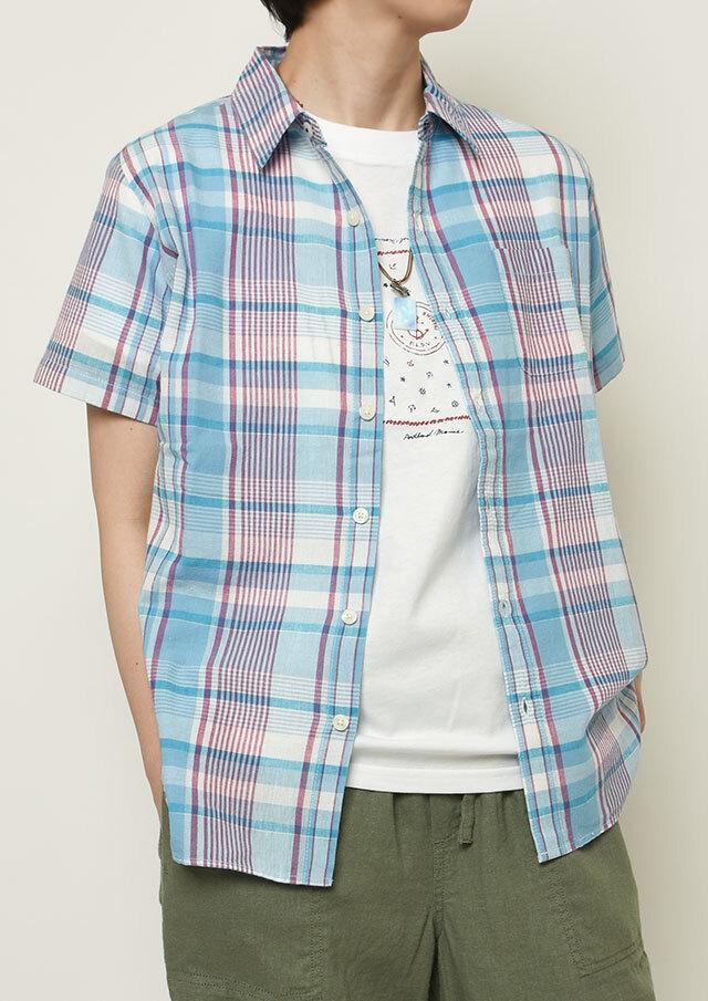 【2021春夏】マドラスチェックシャツ半袖【PL121101A】【右前タイプ】【ポートランド】