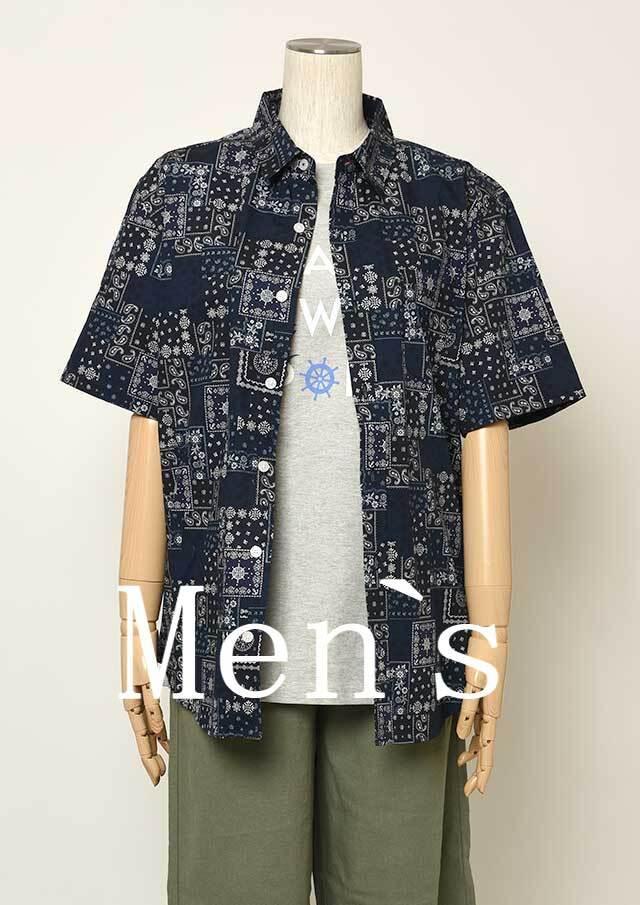 【2021春夏】MENSバンダナパッチワーク柄シャツ半袖【メンズ】【PL121102AA】【ポートランド】