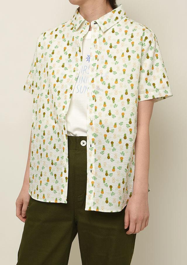 【2021春夏】パイナップル柄プリントシャツ半袖【PL121103】【右前タイプ】【ポートランド】