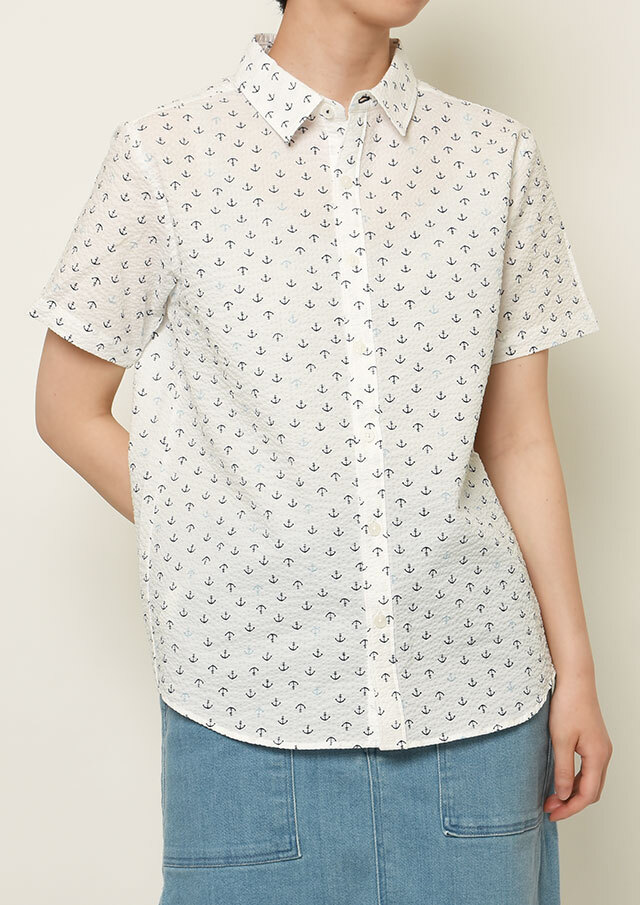SALE!!【2021春夏】リップルクロスイカリプリントシャツ半袖【PL121104】【右前タイプ】【ポートランド】