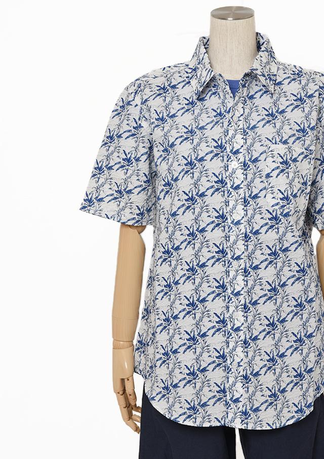 【2019春夏】MENSリーフプリントシャツ半袖【メンズ】【PL129103AA】【ポートランド】