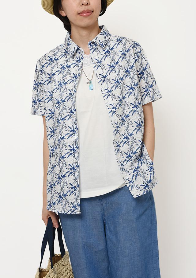 【2019春夏】リーフプリントシャツ半袖【PL129103A】【ポートランド】