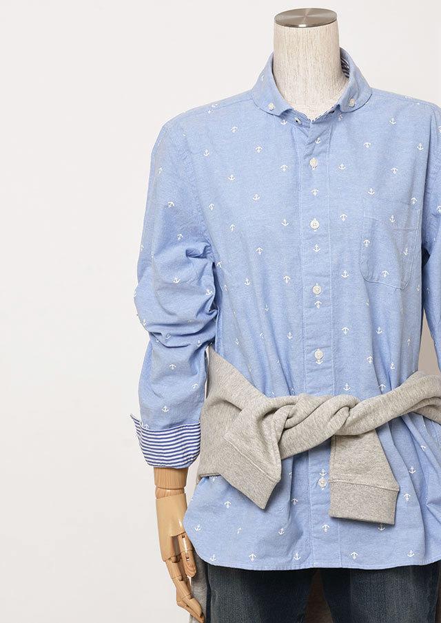 【2019春夏】MENSオックスイカリプリントショールカラーボタンダウンシャツ長袖【メンズ】【PL129202AA】【ポートランド】