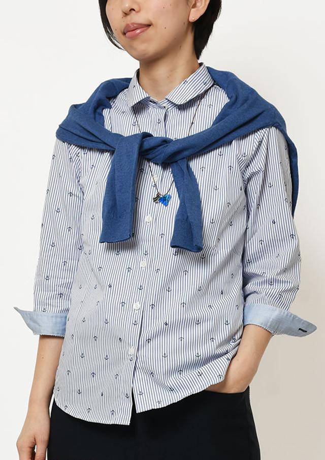 【2019春夏】ストライプイカリプリントミニラウンドカラーシャツ八分袖【PL129206C】【ポートランド】