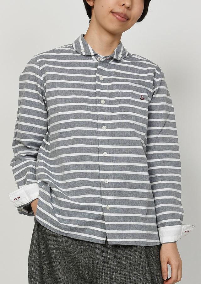 【2019秋冬】オックスボーダーショールカラーボタンダウンシャツ長袖【PL129703】【ポートランド】