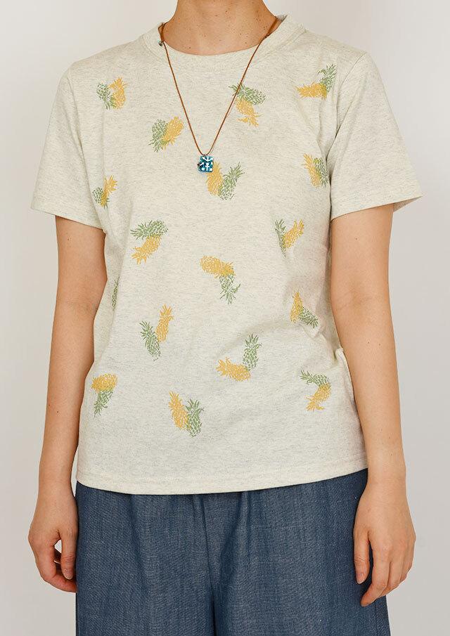 SALE!!【2020春夏】パイナップルプリントTシャツ半袖【PL150111】【ポートランド】