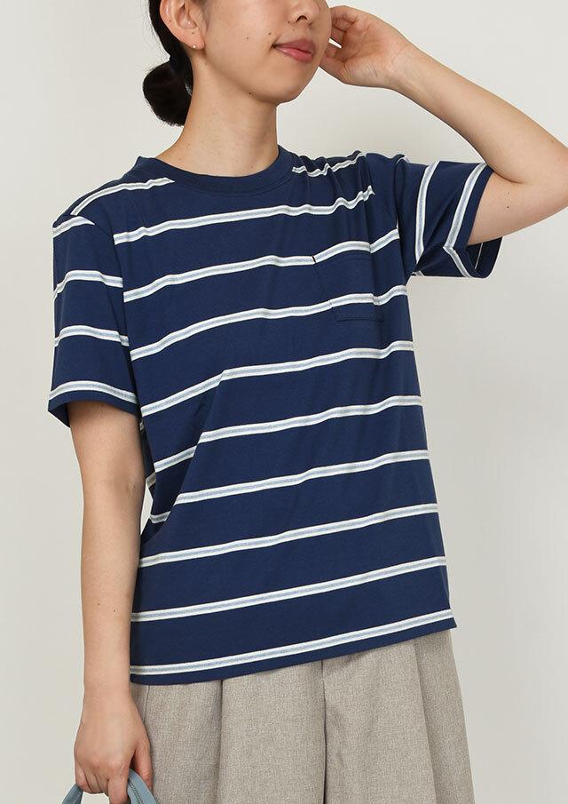 SALE!!【2020春夏】ボーダーポケット付きクルーネックTシャツ半袖【PL150206】【ポートランド】