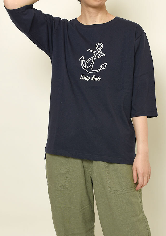 【2021春夏】USAコットンイカリチェーン刺繍Tシャツ六分袖【PL151105】【ポートランド】