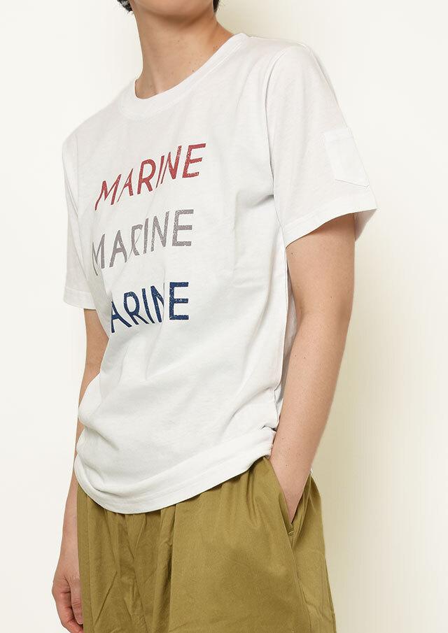 【2021春夏】USAコットン袖ポケット付きMARINEプリントTシャツ【PL151106】【ポートランド】