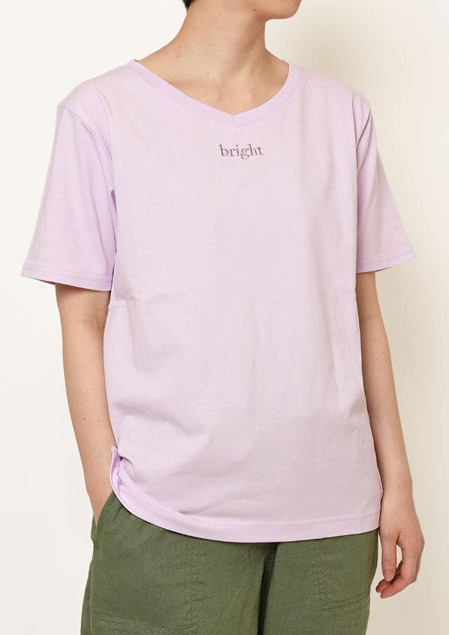 【2021春夏】USAコットンbright刺繍VネックTシャツ【PL151107】【ポートランド】