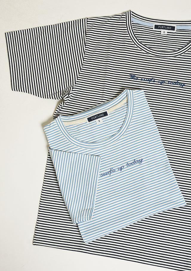 SALE!!【2021春夏】ミジンボーダー刺繍クルーネックカットソー【PL151204】【ポートランド】