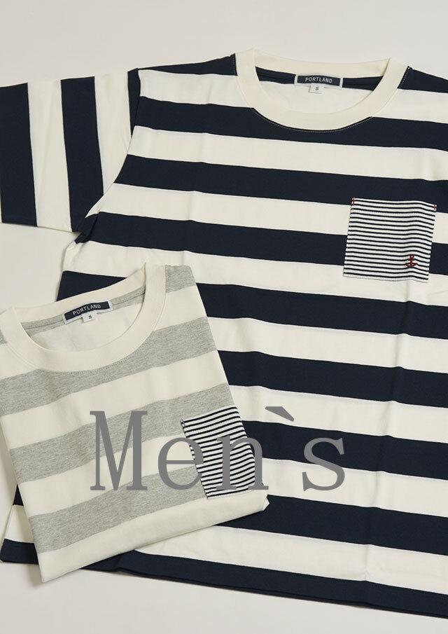 【2021春夏】MENSボールドボーダークルーネックポケット付きTシャツ【メンズ】【PL151206AA】【ポートランド】