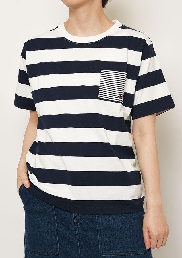 【2021春夏】ボールドボーダークルーネックポケット付きTシャツ【PL151206A】【ポートランド】