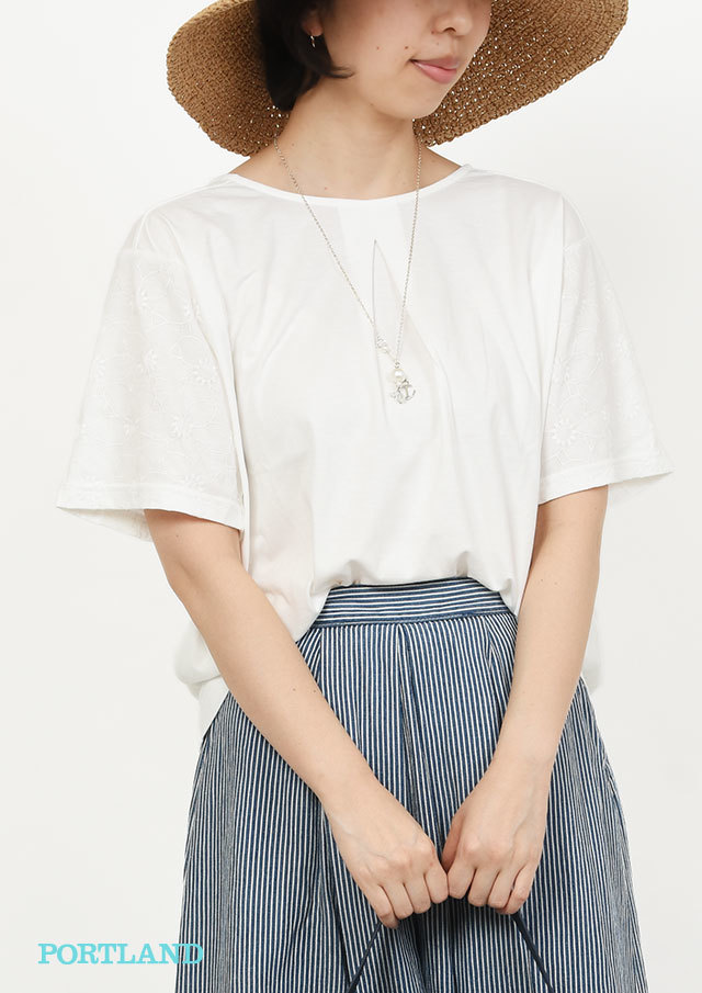 【2019春夏】パーツ刺繍ボートネックカットソー【PL159018】【ポートランド】
