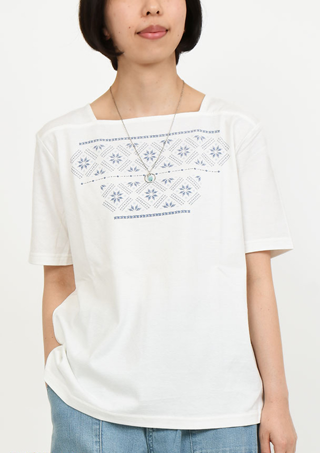 SALE!!【2019春夏】刺繍風プリントスクエアネックプルオーバー【PL159022】【ポートランド】