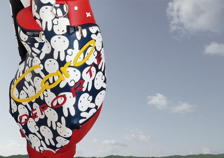Caro DEPORTE miffy コラボ ゴルフ キャディバッグ ● カートタイプ 9型 ミッフィー キャロ レア 軽量 可愛い うさぎ 合成皮革 3.4kg おしゃれ ユニセックス