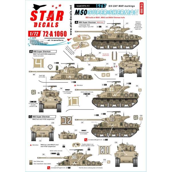 【2月予約】Star Decals 1/72 現用 中東戦争 イスラエルのAFV#5 六日間戦争に於けるIDF M50スーパーシャーマン デカール 模型用グッズ SD72-A1060