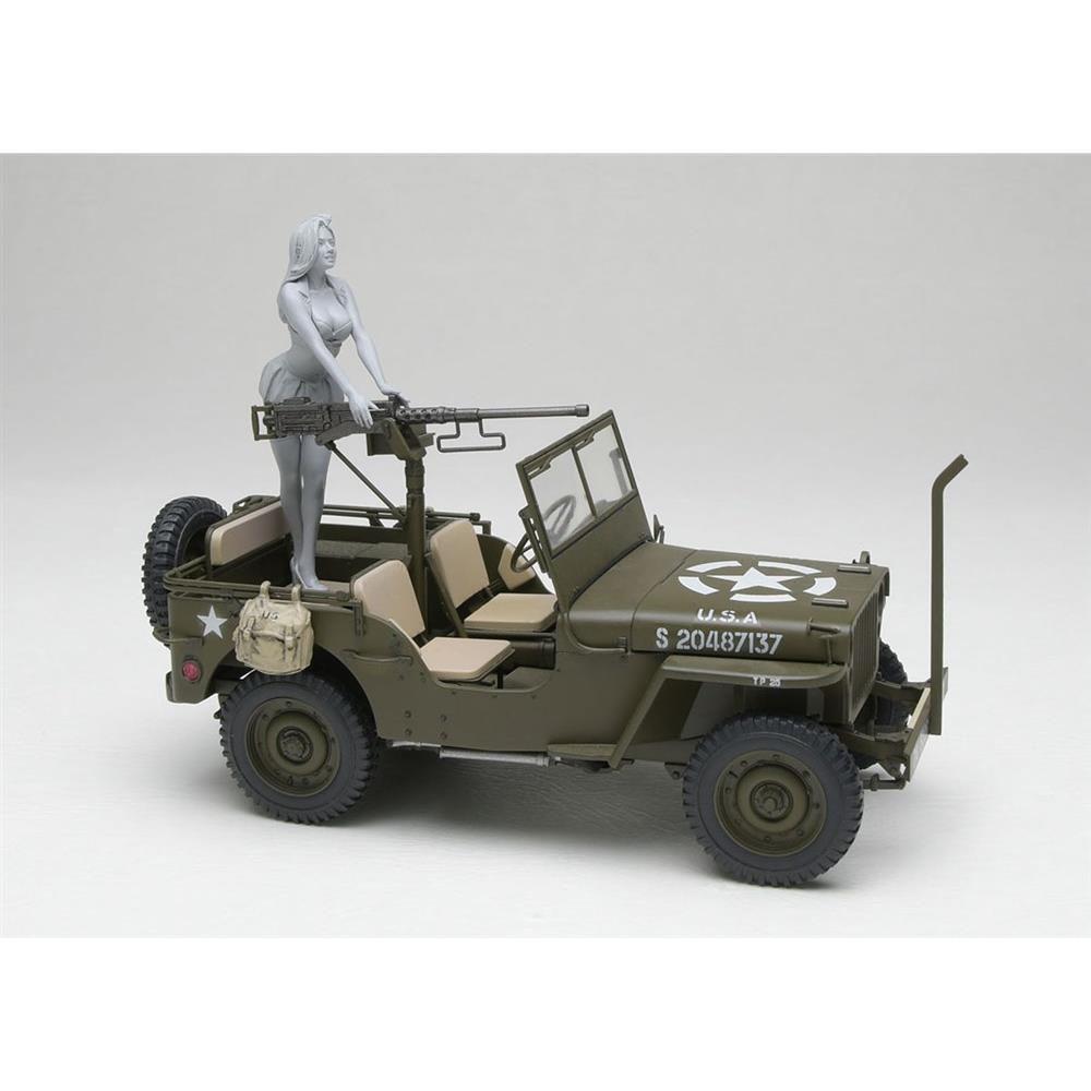 【3月予約】ハセガワ 1/24 1/4トン 4×4トラック 50口径 M2機関銃装備 w/ブロンドガールズ フィギュア レジンフィギュア付属 スケールモデル SP483