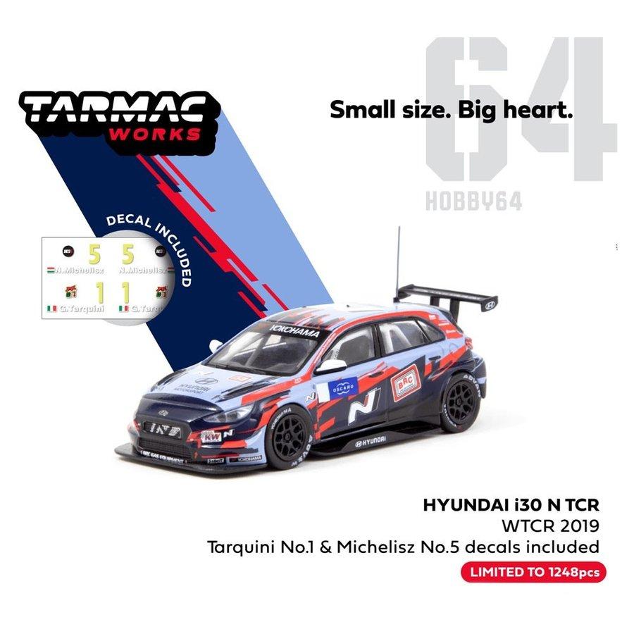ターマックワークス 1/64 ヒュンダイ i30 N TCR WTCR 2019 デカール付: No.1 タルキーニ & No.5 Michelisz 完成品ミニカー T64-031-19WTCR01