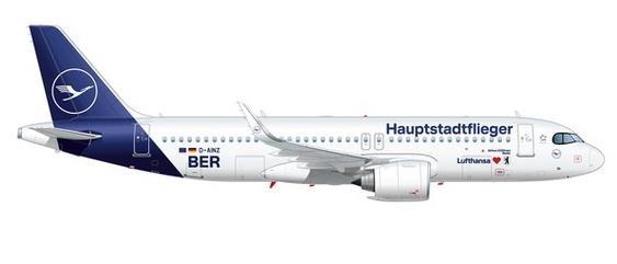 """【3月予約】ヘルパウイングス 1/500 A320neo ルフトハンザ航空 """"Hauptstadtflieger"""" D-AINZ 完成品モデル HE535090"""