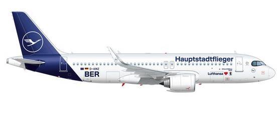 """【3月予約】ヘルパウイングス 1/200 A320neo ルフトハンザ航空 """"Hauptstadtflieger"""" D-AINZ 完成品モデル HE571302"""