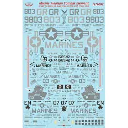 【4月予約】フライングレザーネックス 1/72 アメリカ海兵隊 アビエーション・コンバット・エレメント デカール 模型用グッズ FL72002