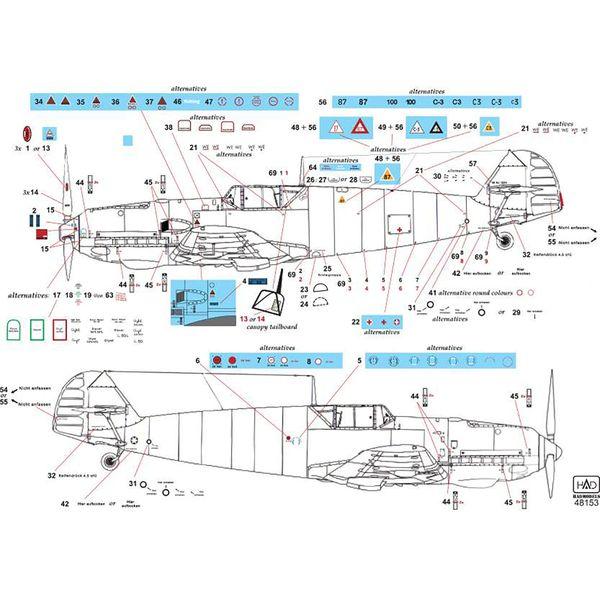 【5月予約】HADモデル 1/48 WW.II ドイツ空軍 メッサーシュミット Bf109 E フルステンシルデカール 模型用グッズ HAD48153