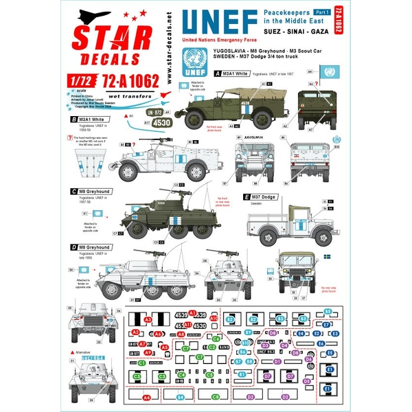 【2月予約】Star Decals 1/72 現用 中東/欧 中東での平和維持軍 スエズ シナイ ガザ地区のUNEF ユーゴスラビアと瑞典軍車両 デカール 模型用グッズ SD72-A1062