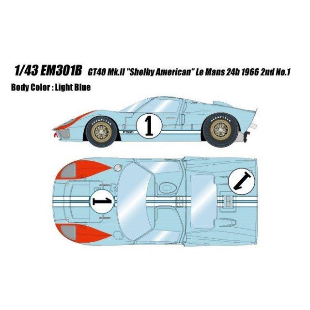 """アイドロン 1/43 GT Mk.II No.1 """"""""シェルビーアメリカン"""""""" 1966 ル・マン24時間 2位 完成品ミニカー EM301B"""